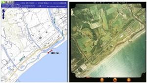 砂嘴の地形図と航空写真