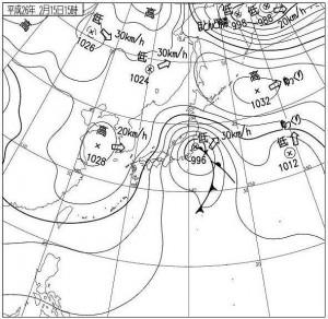 関東降雪型の天気図